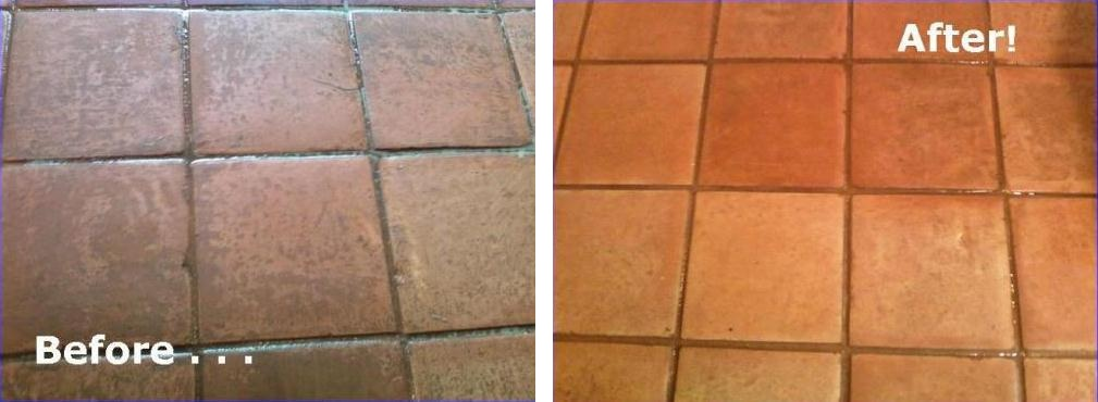 Terracotta Tiled Floor Cleaned and Sealed in Leighton Buzzard