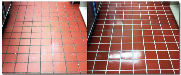 Tired Quarry Tiled Floor in Dunstable School Refurbished