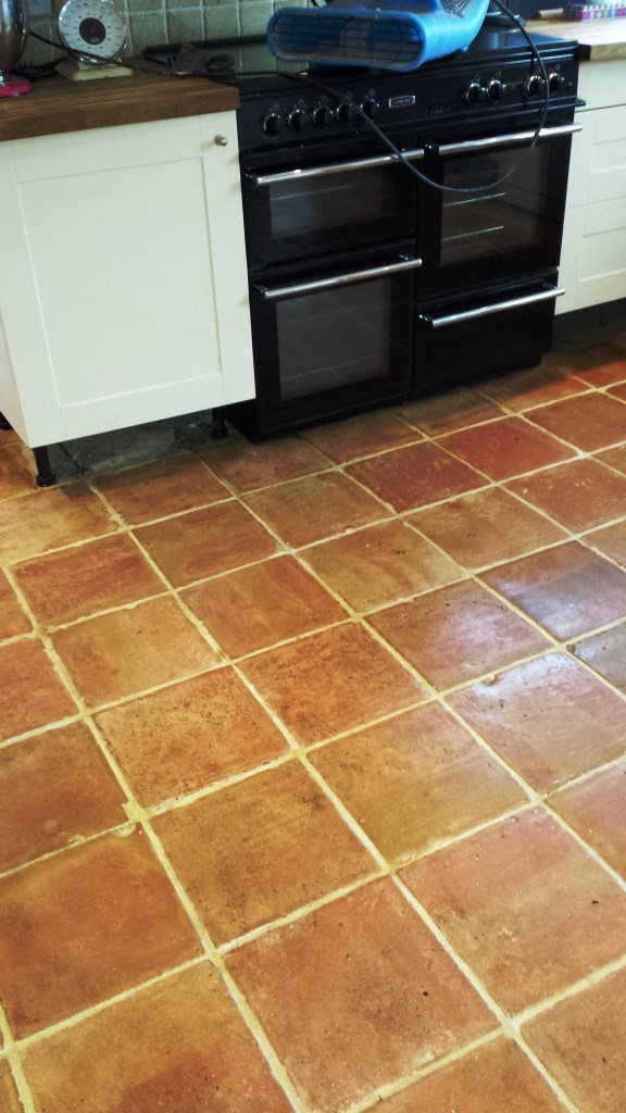 Terracotta tiles after cleaning in Brackley