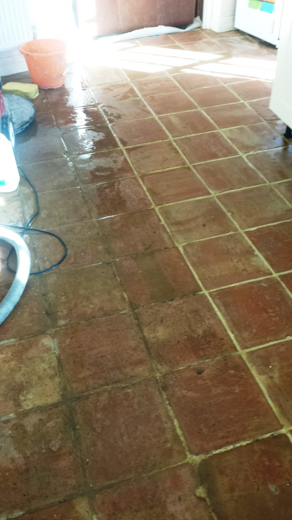 Terracotta tiles during cleaning in Brackley