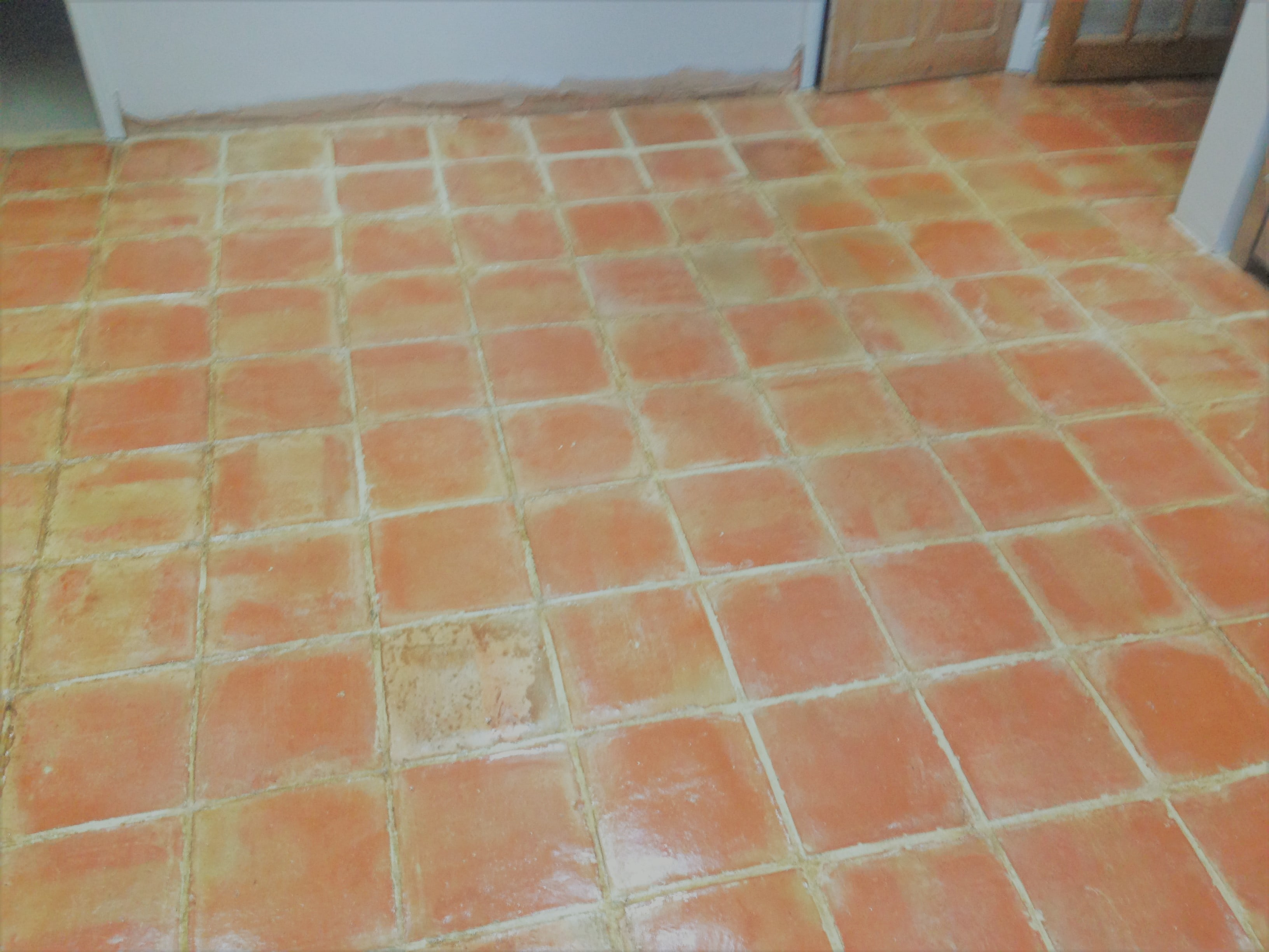 Old Terracotta Floor After Cleaning in Shenley Brook End