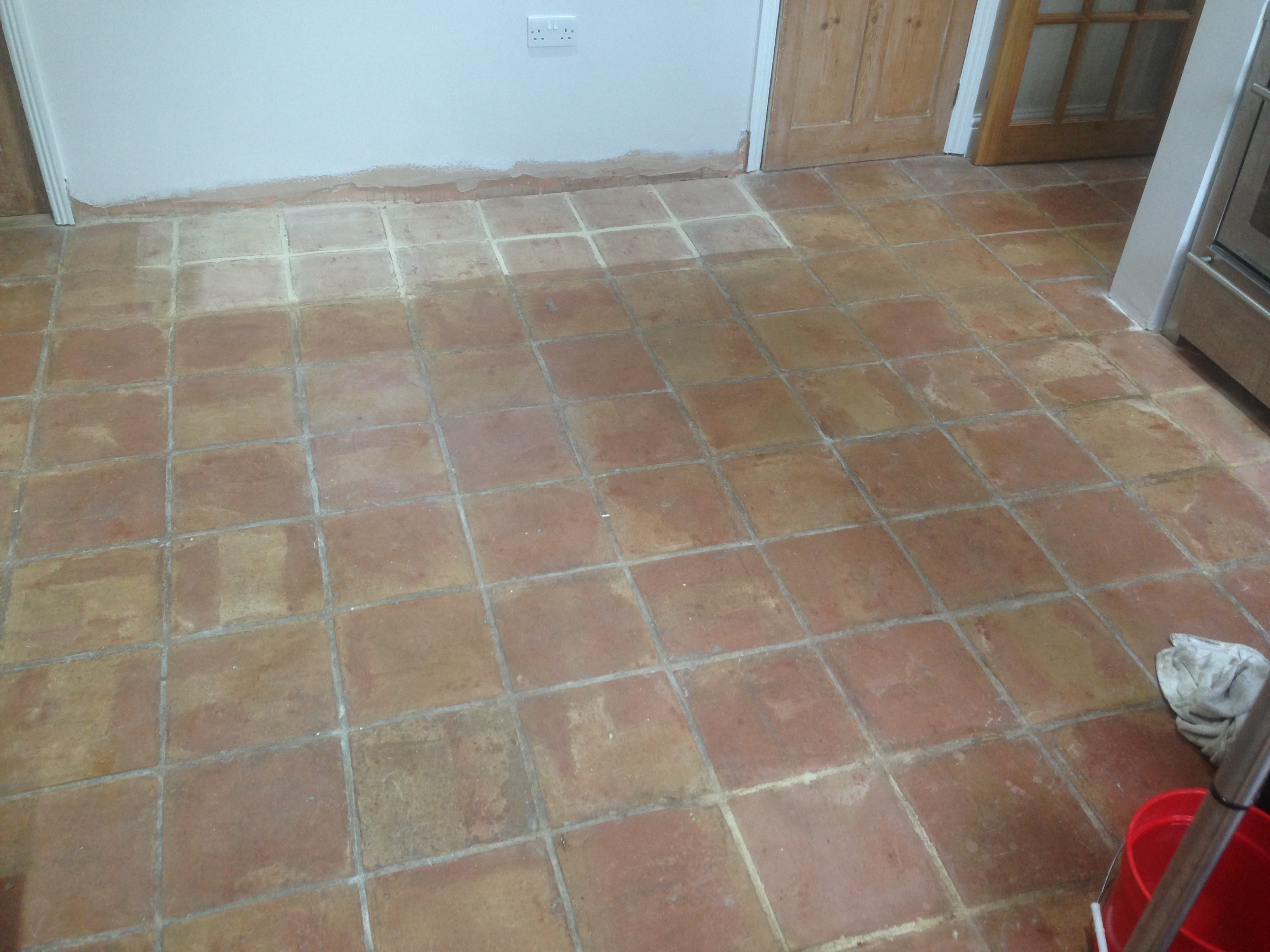 Old Terracotta Floor Before Cleaning in Shenley Brook End