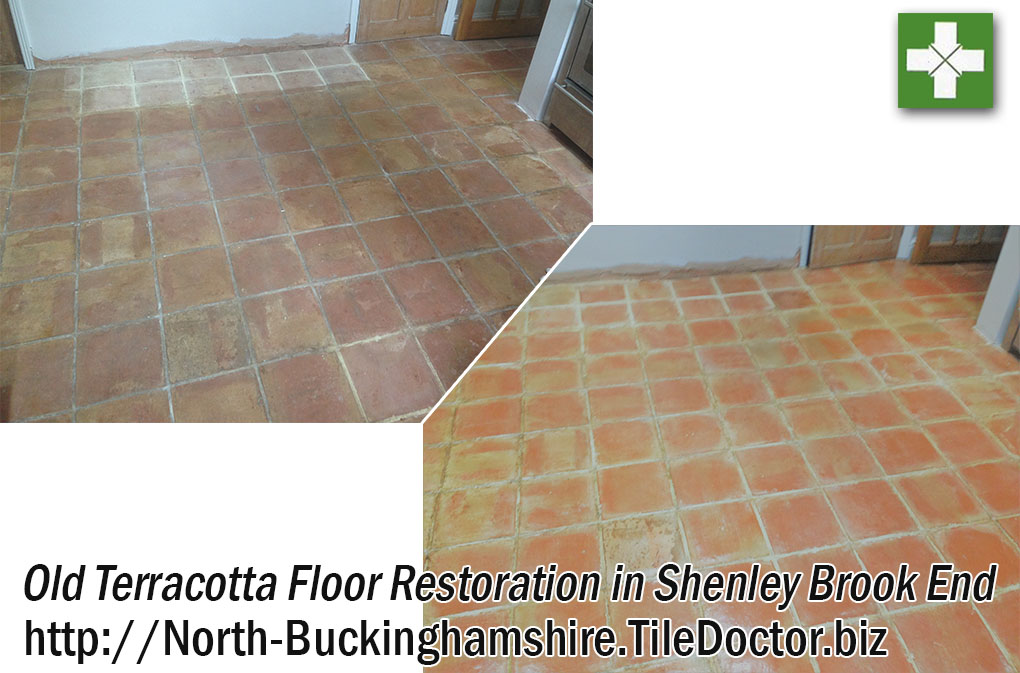 Old Terracotta Floor Cleaned and Sealed in Shenley Brook End