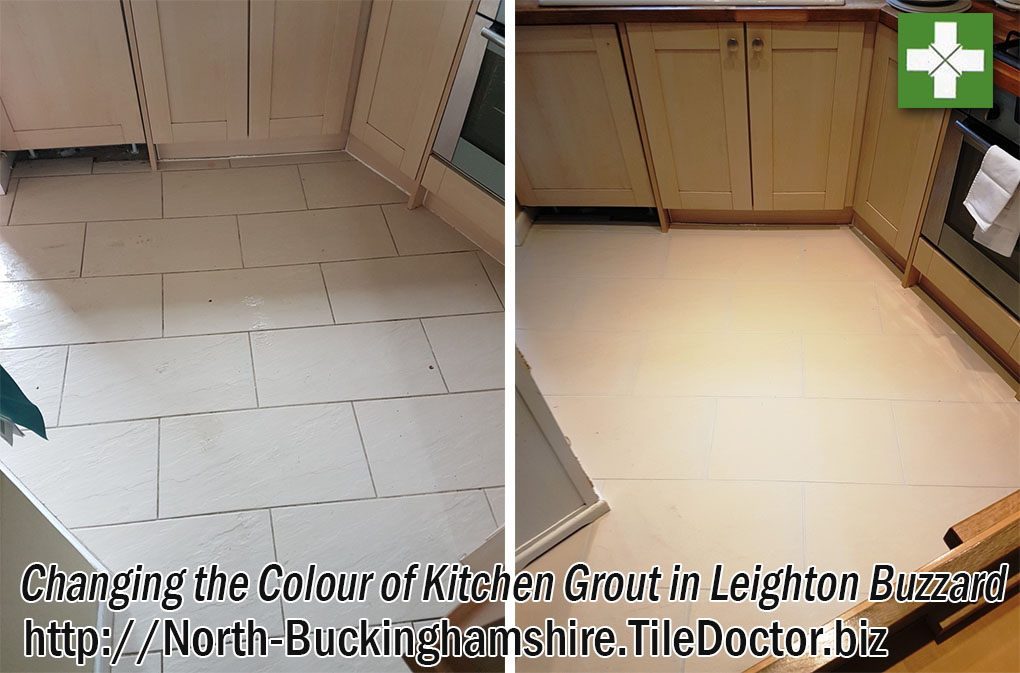 Porcelain Kitchen Grout Before and After Colouring in Leighton Buzzard