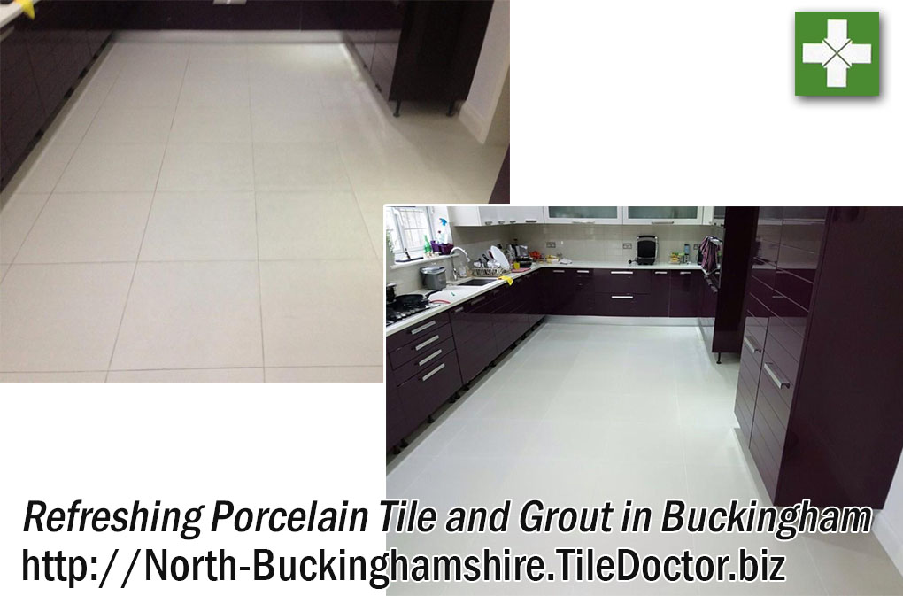 Porcelain Kitchen Floor Tiles and Grout Refreshed in Buckingham