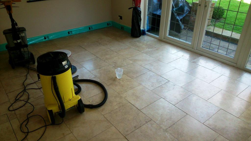 Restoring The Polish On Travertine Kitchen Tiles In Buckinghamshire
