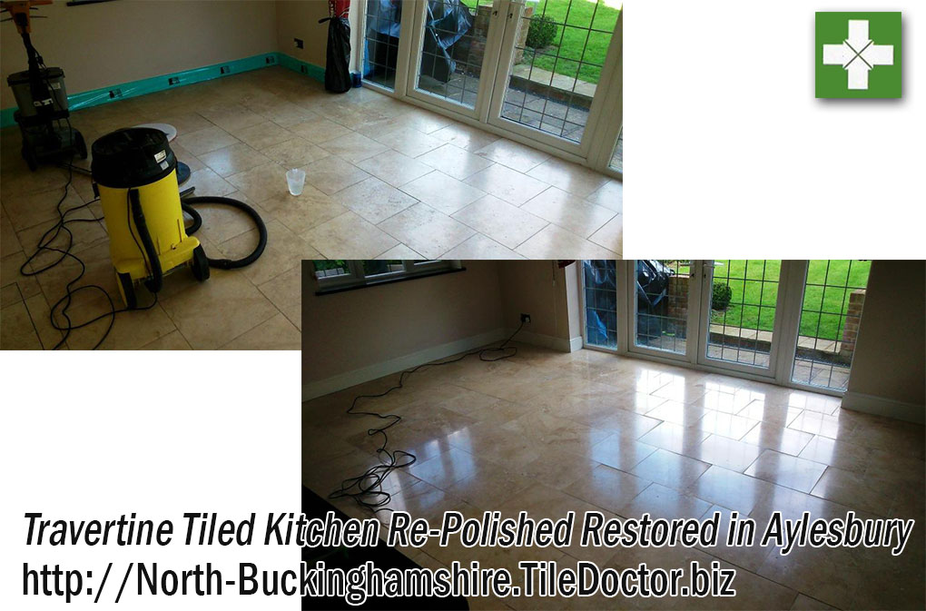 Travertine Tiled Floor Before and After Cleaning Aylesbury