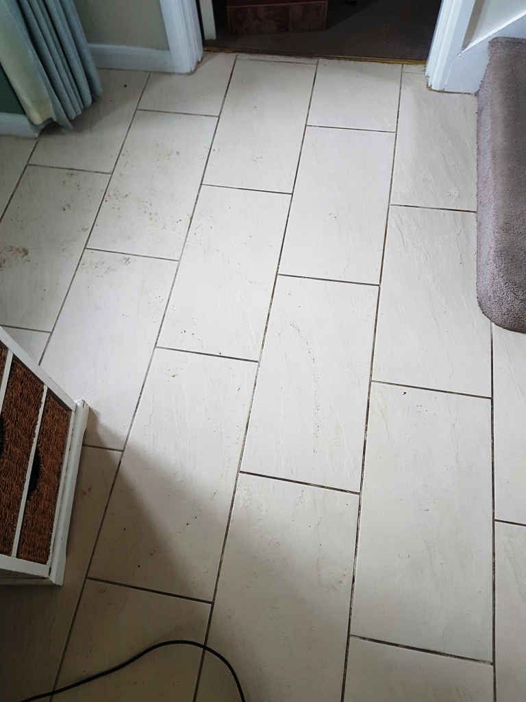 Hallway Porcelian Tile and Grout Before Cleaning Leighton Buzzard