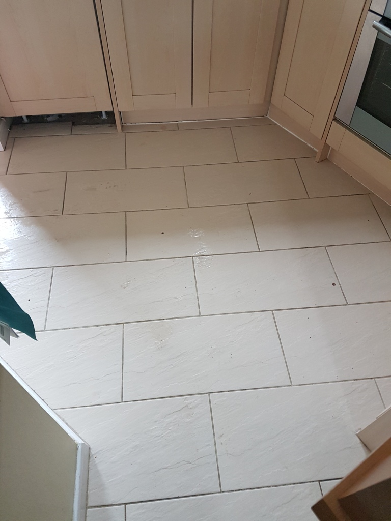 Kitchen Porcelain Tile and Grout After Cleaning Before Grout Colouring Leighton Buzzard