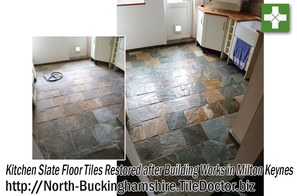 Kitchen Slate Floor Tiles Before and After Restoration in Milton Keynes