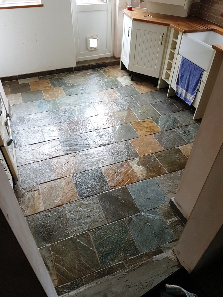 Slate Kitchen Floor After Cleaning in Milton Keynes