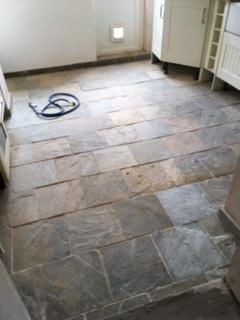 Slate Kitchen Floor Before Cleaning in Milton Keynes