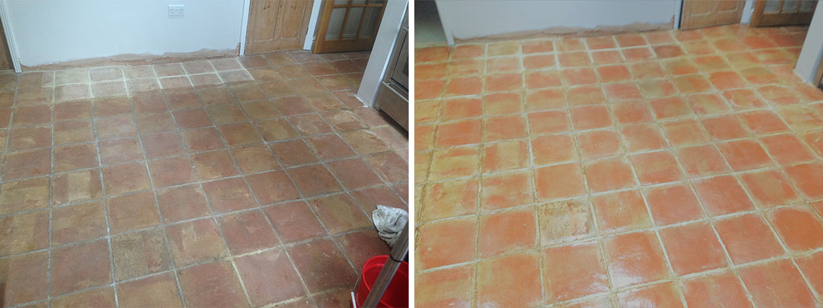 Old Terracotta Floor Before and After Cleaning in Shenley Brook End