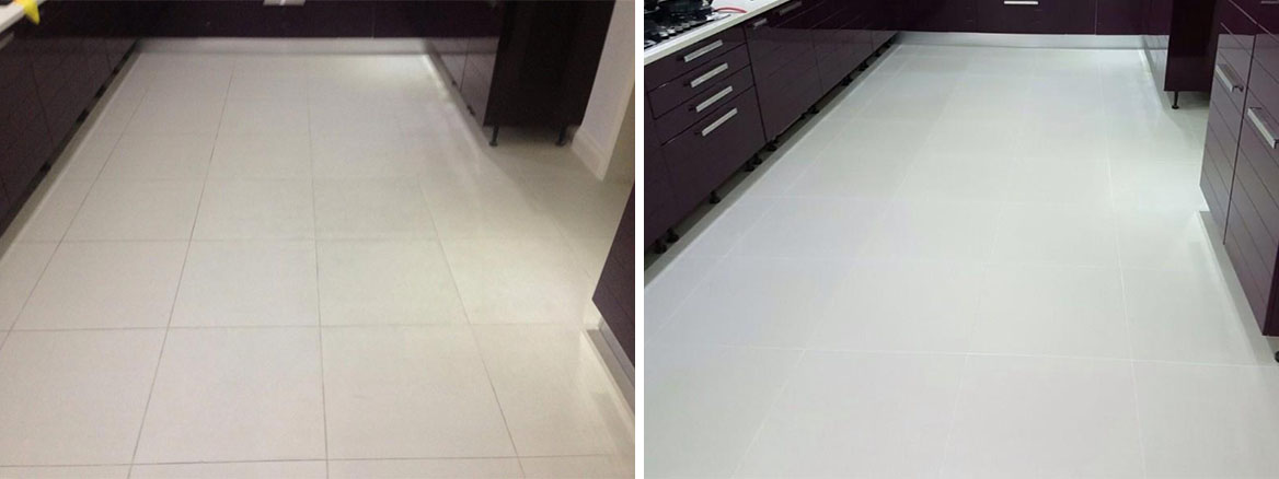 Porcelain Floor Before and After Cleaning in Buckingham