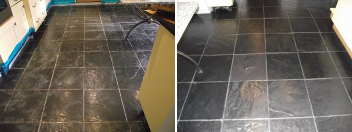 Slate Floor Bedfordshire Before and After Cleaning