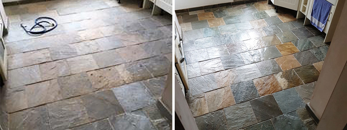 Slate Kitchen Floor Before and After Cleaning in Milton Keynes