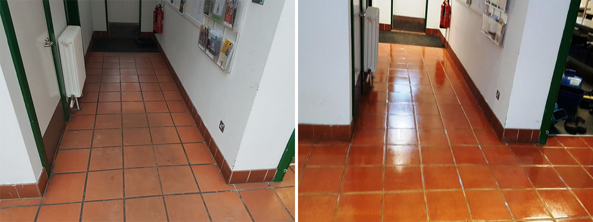Terracotta Floor Files Before and After Cleaning Amersham Council Offices