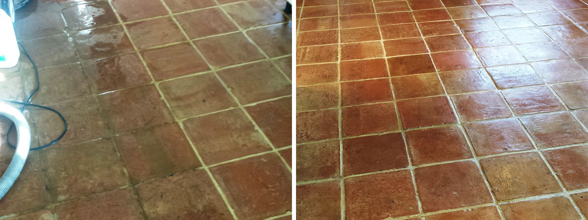 Terracotta tiles Before and After cleaning in Brackley